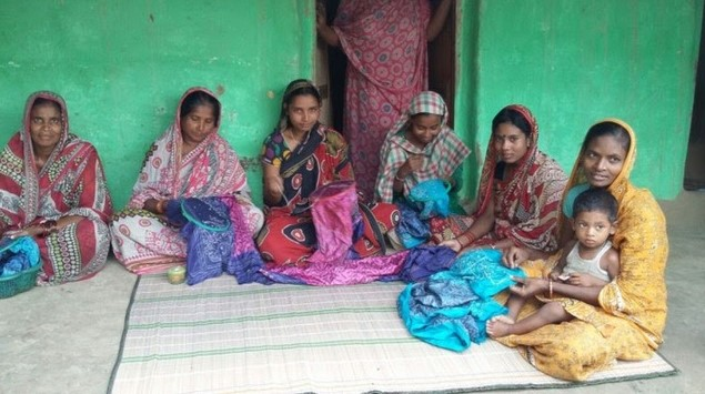 Embroidering scarves in Bengal