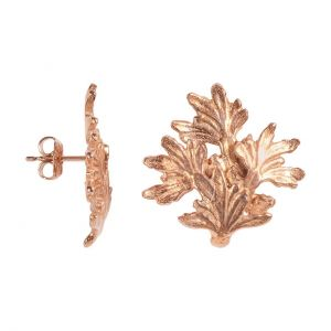La traviata Rose Gold Leaf Stud Earrings