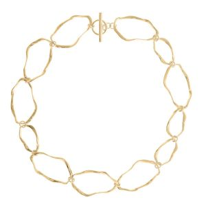 Gold Ripple Link Necklace