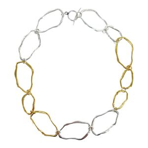 Gold and Silver Ripple Necklace