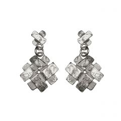 Silver Cross & Little Weave Drop Earrings