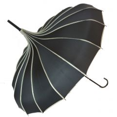 Cream/Black Pagoda Umbrella