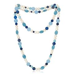 Lapis, Blue Chalcedony & Pearl Long Necklace