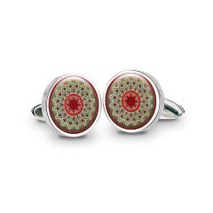 Robert Adam Burnt Orange Rhodium Plated Cufflinks