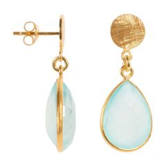 Gold Disc & Aqua Chalcedony Drop Earrings