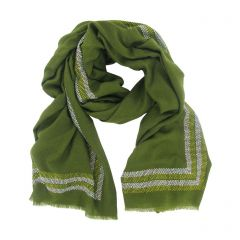 Khaki Cashmere Wrap with Swarovski Crystals