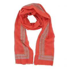 Salmon Cashmere Wrap with Swarovski Crystals