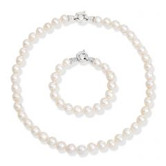 White Baroque Pearl Necklace & Bracelet Set