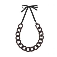 Black Wood Link Necklace