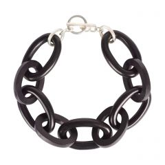 Black Wood Oval Link Bracelet with Sterling Silver Clasp