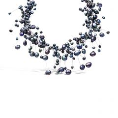 Black Freshwater Pearl Floating Necklace