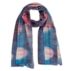 Blue & Pink Handmade Silk & Bamboo Reflections Scarf
