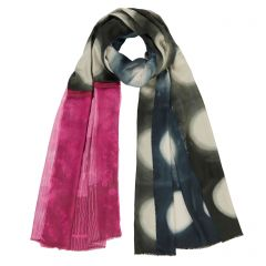 Blue Shibori Raspberry Pleat Scarf