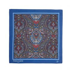 Navy Paisley Silk Square