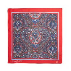Red Paisley Silk Square