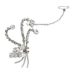 Mid-Century Diamante Brooch with Chain