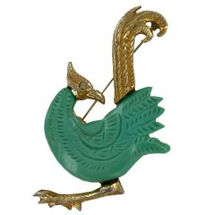 Vintage 1950s Lucite and Gold Tone Bird Brooch
