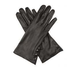 Celine Black Leather Gloves with Button Cuff