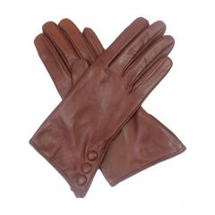 Celine Cognac Leather Gloves with Button Cuff
