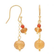Citrine Gold Chain Earrings