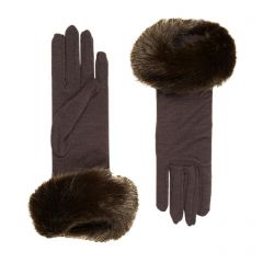 Clementine Brown Merino Wool Gloves with Faux Fur Cuff