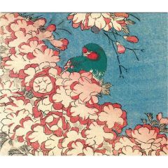 Double Cherry Blossoms and Green Bird Greetings Card