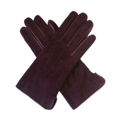 Esme Burgundy Suede Gloves with Leather Trim