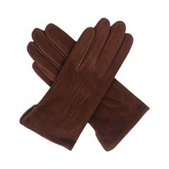 Esme Cognac Suede Gloves with Leather Trim