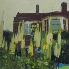 Glyndebourne House with Lupins by Julian Sutherland-Beatson