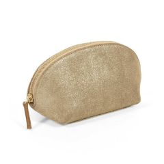 Metallic Gold Suede Makeup Bag
