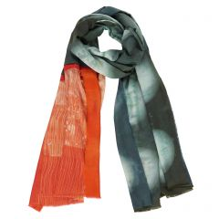 Graphite Shibori Orange Scarf