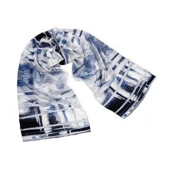 Lake Kietele Blue Crepe de Chine  Silk Scarf