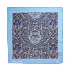Light Blue Paisley Silk Square