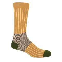 Mustard Oxford Stripe Socks