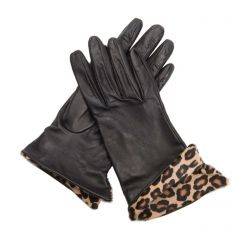 Natalie Leather Gloves with Animal Print Cuff