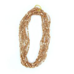 Orange Crystal and Pearl Multi Strand Necklace
