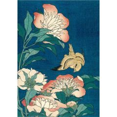 Peonies and Canary Greetings Card