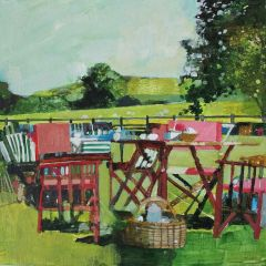 Picnic Table and Downland by Julian Sutherland-Beatson