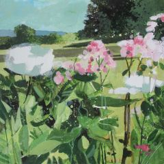 Pink & White Spring Flowers With Distant Downs by Julian Sutherland-Beatson
