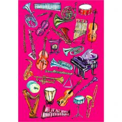 Glyndebourne Pink 'Orchestra' Greetings Card by Charlotte Posner