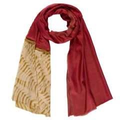 Red & Gold Handmade Silk & Bamboo Reflections Scarf
