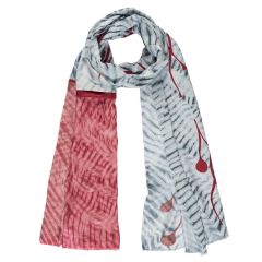 Red & Grey Handmade Silk & Bamboo Reflections Scarf