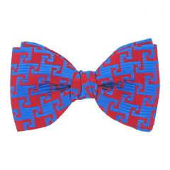Red and Blue Swirls Silk Bow Tie