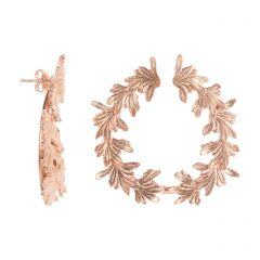 Rose Gold Vermeil Leaf Hoop Earrings