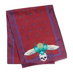 Scarab And Orchid Burgundy Silk Scarf