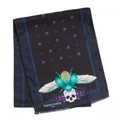 Scarab And Orchid Black Silk Scarf