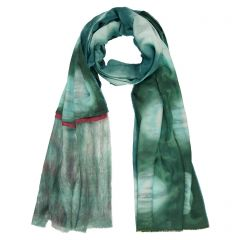 Sea Green and Raspberry Pleat Scarf