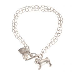 Silver Chain Bracelet with Pug Charm