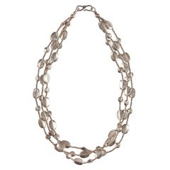 Silver Bead Multi Strand Necklace