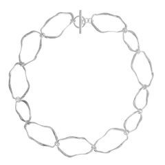 Silver Ripple Link Necklace